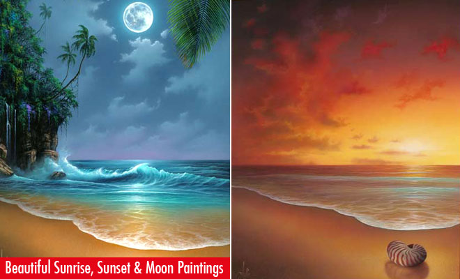 Beautiful Moon and Sun Rise Paintings.